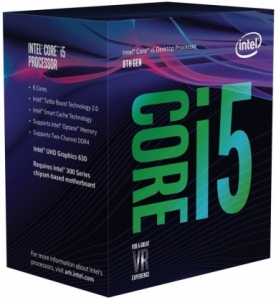 CPU | INTEL | Core i5 | i5-8600 | Coffee Lake | 3100 MHz | Cores 6 | 9MB | Socket LGA1151 | 65 Watts | GPU UHD 630 | BOX | BX80684I58600SR3X0